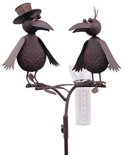 Regenmesser Vogelduo mit Hut Metall braun